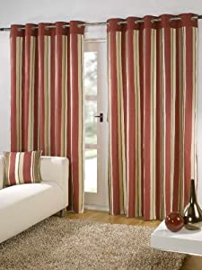"""Striped Cotton Mix Ring Top Lined Red Brown Beige Cream 66"""" X 54"""" Thick Curtains *wotsdap* from PCJ SUPPLIES"""