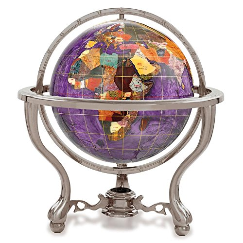 Alexander Kalifano Gemstone Globe with Antique Silver Commander 3-Leg Table Stand, Amethyst Opalite Ocean, 9-Inch
