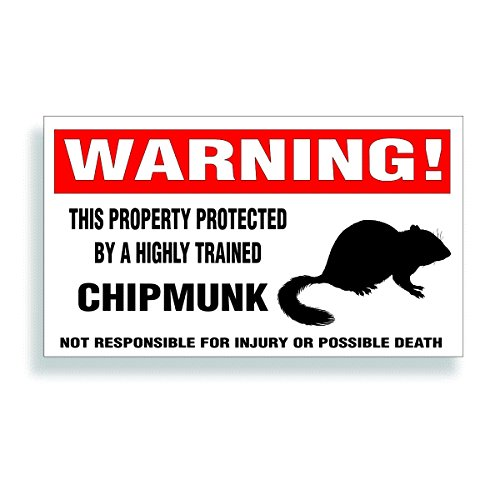 Warning Decal, Property Protected By A Highly Trained - Chipmunk Bumper, Fence Or Window Sticker Black Sillhouette - 5.75x3.25 inch