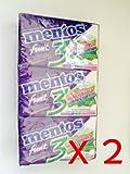 Mentos Chewing Gum Pure Fruit 3 Blackberry Kiwi Strawberry Flavor 12 x 16g (2 Packs)