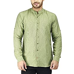PRAKUM Men's Cotton Slim Fit Shirt (MD-282, Green, M )