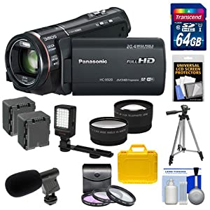 Panasonic HC-X920 3MOS Ultrafine Full HD Wi-Fi Video Camera Camcorder (Black) with 64GB Card + Batteries + Hard Case + LED Video Light + Microphone + 3 UV/FLD/CPL Filters + Tripod + Telephoto & Wide-Angle Lenses + Accessory Kit