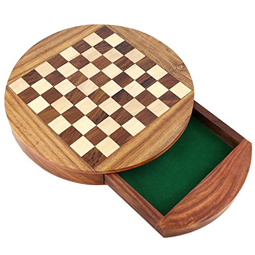Unique Compact Box Magnetic Round Wooden Chess Board And Pieces Set Gift For Kids Adults 5