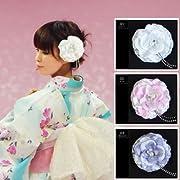 ラインストーンがキラリ 花髪飾り ホワイト/ピンク/青むらさき
