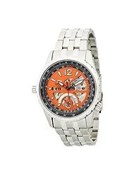Orient Men's CFT00005M Power Reserve Semi-Skeleton Orange Automatic Watch