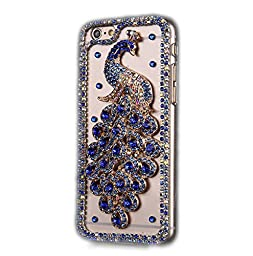iPhone 6S Plus Case, Sense-TE Luxurious Crystal 3D Handmade Sparkle Diamond Rhinestone Cover with Retro Bowknot Anti Dust Plug - Brilliant Peacock / Blue