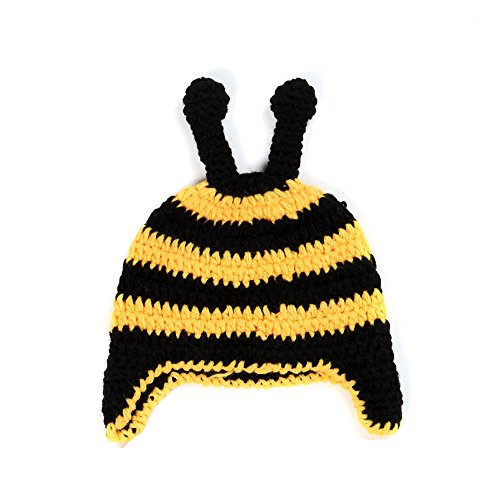 [Elee Baby Handmade Crochet Knit Animal Hat Beanie Warm Earflap Photograph Props (#11 Bee)] (Bee Costume Makeup)