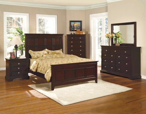 8 Piece Bedroom Furniture Set Includes Dresser, Mirror, Chest, 2 Nightstands King or Queen Headboard, Footboard & Rails