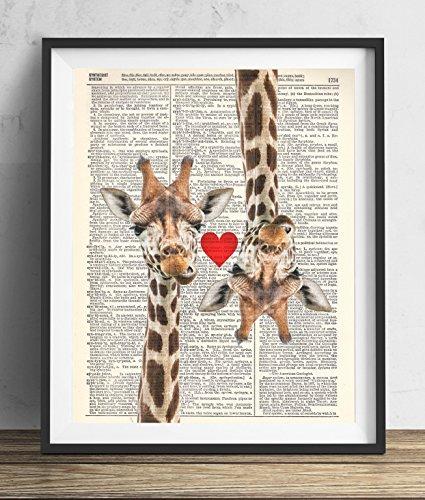 Giraffe Love Vintage Upcycled Dictionary Art Print 8x10