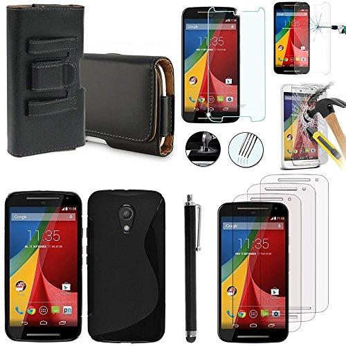 Motorola Moto G2 II 1 G (2014) 2nd gen Dual SIM/G2/Moto G 2015 XT1072 4G/LTE 4G LTE 2015 Dual SIM XT1068-Set custodia: Custodia in Silicone Gel, con accessori, pellicola in vetro temprato e 1 pennino in pelle con clip per cintura, colore: nero