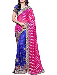 Indian E Fashion Embroidered Pink & Blue Half And Half Net Saree With Blouse Material For Party Wear,Wedding,Casual...