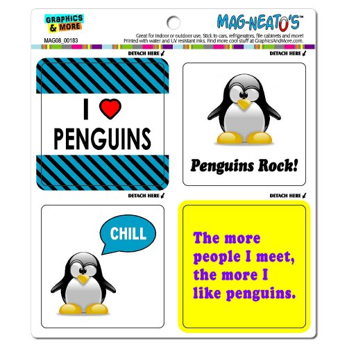 Graphics and More Penguins Funny Love Mag-Neato's Automotive Car Refrigerator Locker Vinyl Magnet Set (Penguin Fridge compare prices)