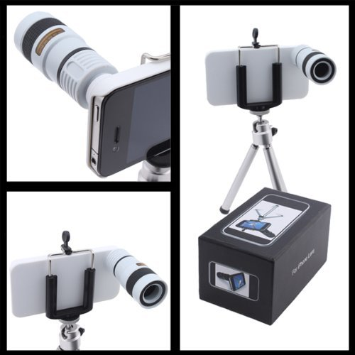 (White)8X Optical Zoom Telescope Extended 30X70Mm Lens For Apple Iphone 4 4G Including Mini Tripod, Universal Mount Holder, Velvet Case And Cleaning Cloth