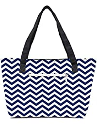 Pack Of 2 White And Blue Strips Combo Tote Shopping Grocery Bag With Coin Pencil Purse