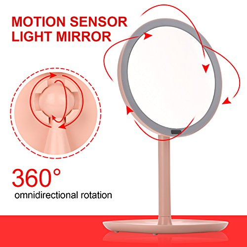 JIEXING Montion Sensor Lighted Vanity Mirror,360 Degree Rotation With 30 LED Lights, Rechargeable 5X Magnifying Makeup Mirror,Battery or USB Cable Power Supply
