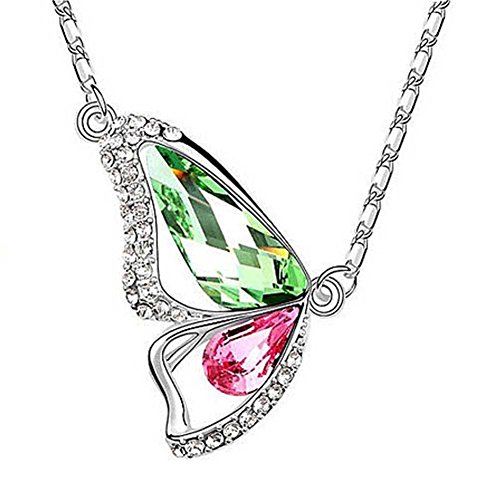 HONEYKISS Women's Small Jewelry Butterfly-shaped Crystal Necklace(C5)