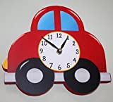 Vroom Vroom Little Red Car Wooden Wall Clock For Boys Bedroom Baby Nursery Wc0044