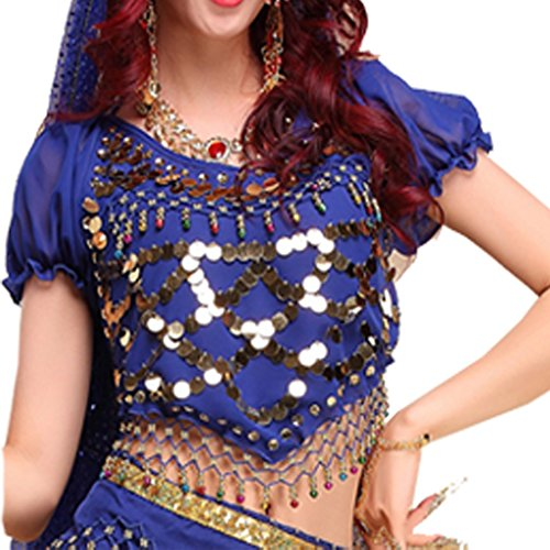 Pilot-trade Lady's Belly Dance Costumes Lantern Blouse Top with Sequins Beads Bells