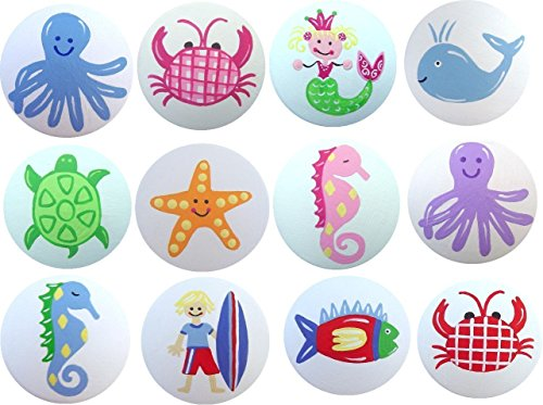 Colorful Hand Painted Decorative Sea Life Aquatic Beach Kids Drawer Knobs Pulls Choose Your Designs (SINGLE KNOB) (Sea Life Knobs compare prices)