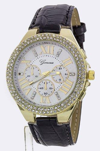 Karmas Canvas Roman Number Crystal Bezel Fashion Watch (Black)