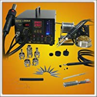 ! Updated Aoyue 968A+ SMD Digital Hot Air Rework Station, 4 in 1 station has Hot Air, a 70 Watt Soldering Iron, vacuum pickup tool and a built in smoke absorber - 500 Watt Heater - 5 nozzles - 10 Soldering Iron Tips- Spare Heating Elements from Aoyue