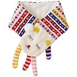 Hanna Andersson Baby Kids Sherpa Lined Critter Scarf, Ecru