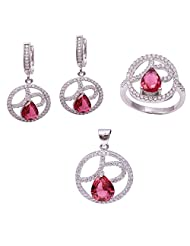 Jewelina Gems Adorn With Colour Stones Studded Silver 925 Stunning Pendant Set For Girls And Women