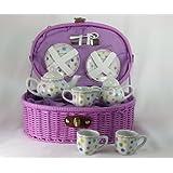 Delton Products Gumdrops Dollies Tea Set in Basket, Large