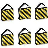 Neewer® 6 Pack Dual Handle Sandbag, Black/Yellow Saddlebag for Photography Studio Video Stage Film Light Stands Boom Arms Tripods