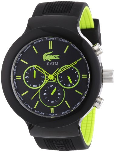 Lacoste Borneo Chronograh Black Dial Black and Green Silicone Mens Watch 2010650