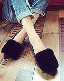 (リグリ) LIGLI スリッポン ファー フラットシューズ パンプス レディース フラットタイプで歩きやすい可愛い秋冬シューズ ブラック 35