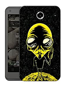 """Alien Says Peace - Yellow Printed Designer Mobile Back Cover For """"Lenovo S880"""" By Humor Gang (3D, Matte Finish, Premium Quality, Protective Snap On Slim Hard Phone Case, Multi Color)"""