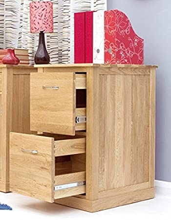 Baumhaus Mobel Oak 2 Drawer Filing Cabinet, Size: H 80cm, W 49cm, D 55cm
