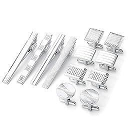 PiercingJ 12pcs Men\'s Classic Stainless Steel Cufflinks and Tie Clip Set