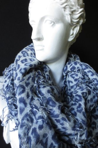 Chan Luu Cashmere & Silk Blue Leopard Print Woven Scarf