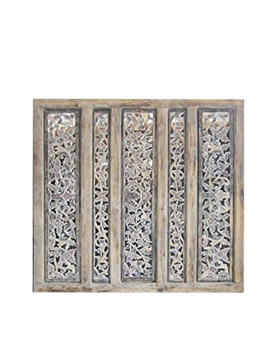 Asian Loft Carved 5-Panel Screen Wall Décor, Multi