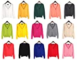 Angela Vogue Women Knitwear V neck Long Sleeve bag buckle crimping Cardigan Fashion Sweater Cotton Top Multicolor red/white/pink/yellow/black/apricot/light orange/apple green/rose/dark green/watermelon red/royal blue/light gray/bright yellow/dark gray