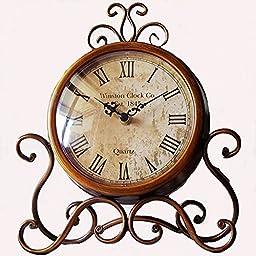 Glodeals Table/Desk Clock European Style Antique Retro Vintage-Inspired Wrought Iron Craft Home Decor (Dark Gold)