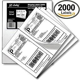 JC Labels 2000 Half Sheet Shipping Labels for Laser/InkJet for eBay, PayPal, USPS Click-n-Ship, UPS: 5-1/2\