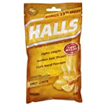 Halls Menthol - Cough Suppressant/Oral Anesthetic, Honey-Lemon, Drops, 40 ct.