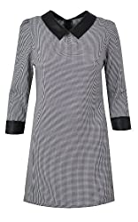 LILY LULU Tia Houndstooth Dress in Black & White Shift Dress Tunic Dress with PU Collar Peter Pan Collar Dress