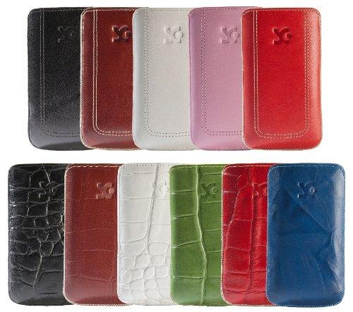 Original Suncase Tasche fuer / Alcatel One Touch 992D (Dual-Sim) / Leder Etui Handytasche Ledertasche Schutzhuelle Case Huelle - Lasche mit Rueckzugfunktion* In Wash-Weiss