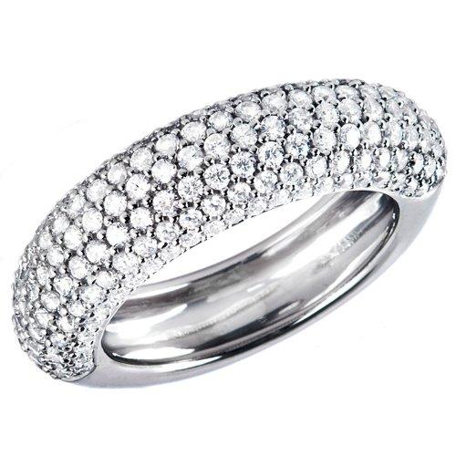 1 1/5 CTW Pave Diamond Multi-Stone Wedding Band Ring in 14K White Gold