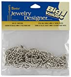 Darice Nickel Plated Ball Chain, 2.4mm by 4-Inch