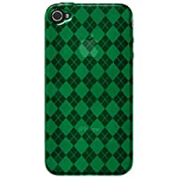 Amzer 88409 Luxe Argyle High Gloss TPU Soft Gel Skinase - Green For IPhone 4