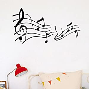 [Free Shipping] Art Home Decor Black Music Note Removable Wall Sticker Decal Wallpaper // Arte decoración casera nota musical negro etiqueta de la pared removible etiqueta de fondo de pantalla from BML - Seller : Twin Pines Mall