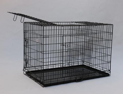 "Best Pet Black 55"" Triple-Door Suitcase Style Folding Metal Dog Crate With Metal Pan - 55""(L) X 37""(W) X 45""(H)"