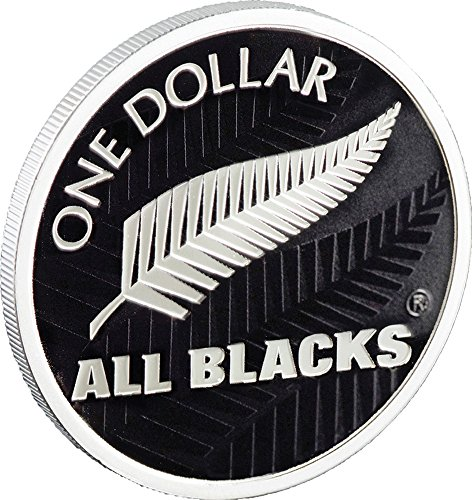 2011 Nz Modern Commemorative All Blacks Rugby Fern Silver Proof Coin 1$ New Zealand 2011 Dollar Perfect Uncirculated