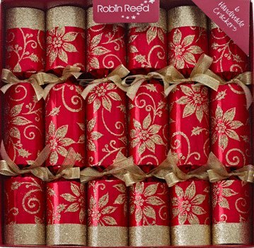 "6 x 12"" Luxury Pointsetta Christmas Crackers"