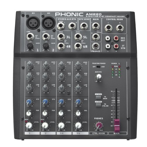 Phonic Am220 2 Mic/Line 2 Stereo Input Compact Mixer